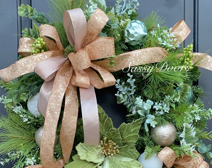 Christmas Wreath, Eucalyptus Christmas Wreath, Christmas Decor, Gold Wreath,