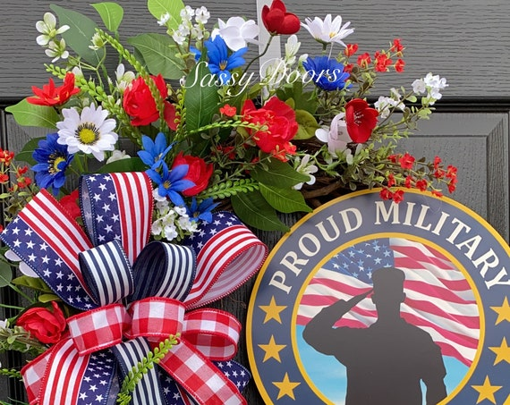 Military Veterans Wreath, Patriotic Wreath, Memorial Day Wreath, Veterans Day Wreath, Military Wreath