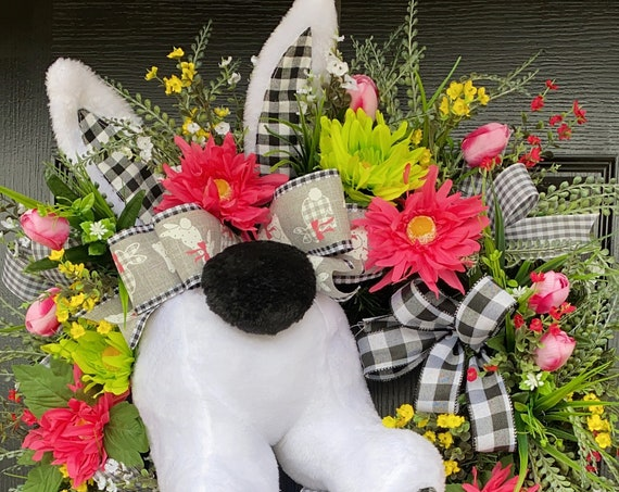 Easter Bunny Butt Wreath, Buffalo Plaid Easter Wreath, Bunny Door Wreath