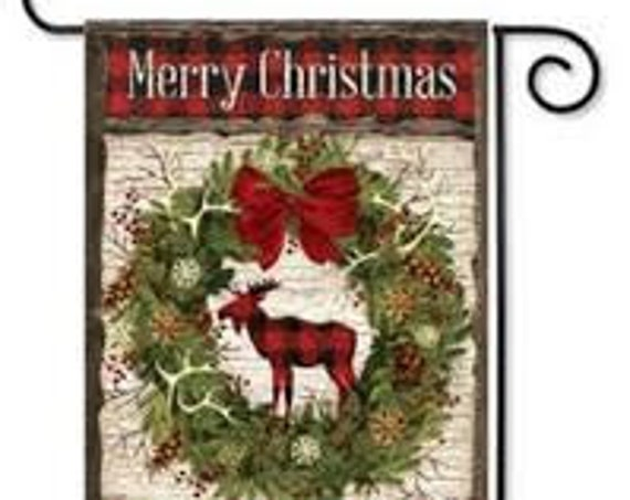 Woodland Christmas Flag, Buffalo Plaid Christmas Flag, Moose Christmas Flag, Buffalo Plaid Flag,  Carson Flag,