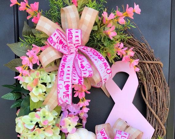 Breast Cancer Awareness,Pink Wreath,Cancer Awareness Wreath, Hydrangea Wreath, Pink Awareness Wreath, Fall Wreath Sassy Doors Wreath