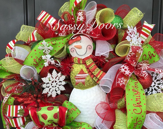 Snowman Wreath, Christmas Wreath For Front Door, Deco Mesh Christmas Wreath, Whimsical Christmas Wreath, Sassy Doors Wreath
