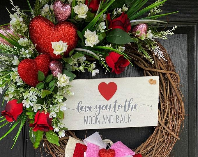 Valentines Wreath, Valentine Door Wreath, Rag Bow Valentines Wreath, Red Roses Wreath