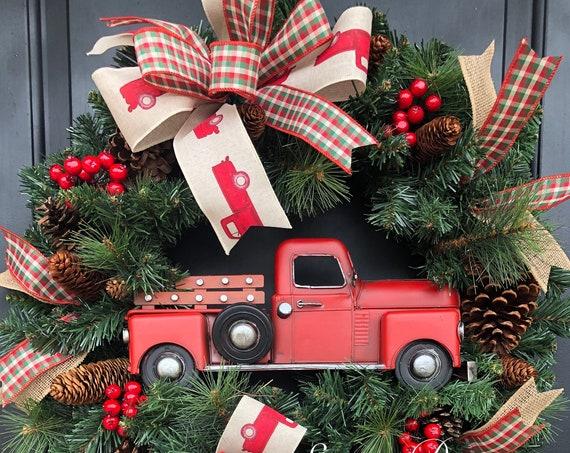 Red Truck Wreath, Farmhouse Plaid  Christmas Wreath, Christmas Wreath, Rustic Christmas Wreath, Red Truck Christmas Wreath, Farmhouse Wreath