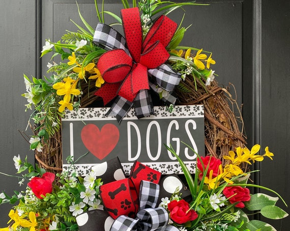Everyday Wreath, Dog Rescue Wreath,  Paw Print Wreath, Animal Lovers Wreaths, Front Door Wreath, Awareness Door Wreath, Sassy Doors Wreath