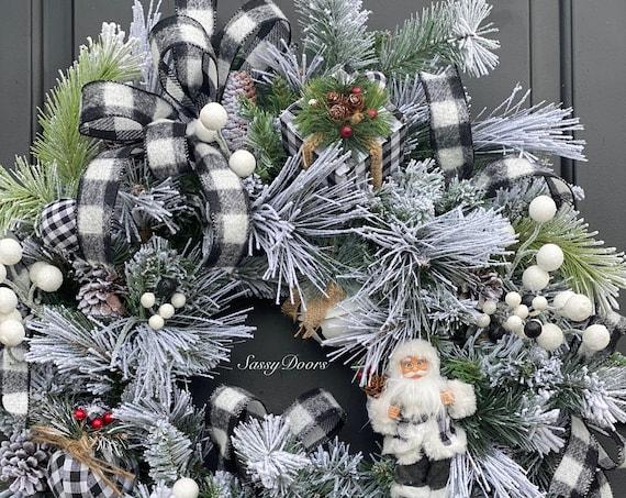 Christmas Wreath, Buffalo Plaid Christmas, Snow Wreath, Christmas Front Door Wreath, WinterWreath for Front Door,