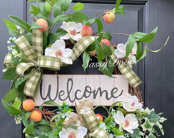 Spring Wreath, Summer Wreath, Peach Wreath, Wreath With Fruit, Farmhouse Wreath,