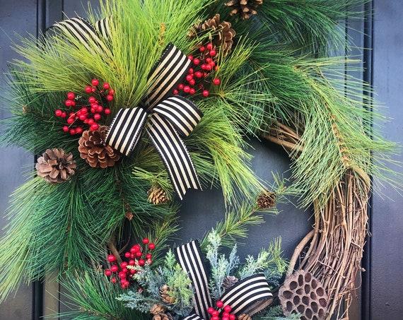 Winter Wreath, Front Door Winter Wreath, Pine Wreath, Wreath,Farmhouse Wreath, Front Door, Sassy Door Wreath, Woodland Wreath