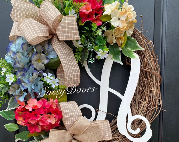 Hydrangea Wreath, Monogram Wreath, Spring Wreath, Mother's Day Wreath With Letter, Hydrangea Wreaths, Sassy Doors Wreath,