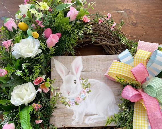 Easter Wreath, Easter Bunny Wreath, Spring Wreath, Grapevine Wreath,Sassy Doors Wreaths, Easter Weearh With Bunny, Shabby Chic Easter Wreath