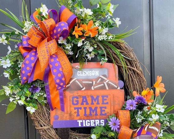 Clemson Wreath, Clemson University, Clemson Football,  Football Truck Tailgaters WreathClemson College Wreath, Clemson Tigers, Sports Wreath