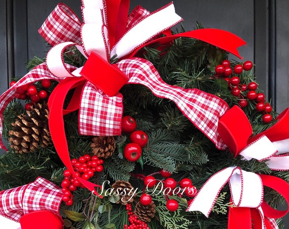 Christmas Wreath, Traditional Christmas Wreath, Merry Christmas Wreath, Red And White Christmas Wreath, Sassy Doors Wreath,