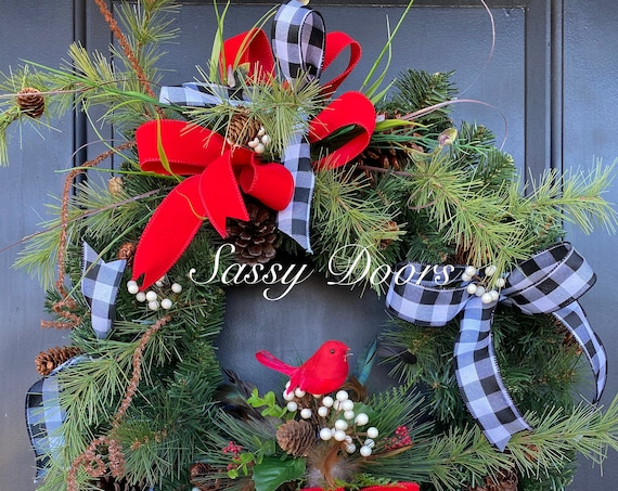 Winter Wreath, Cardinal Wreath, Winter Front Door Wreath, WinterWreath for Front Door,