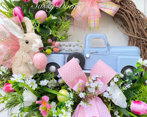 Easter Truck Wreath , Easter Wreath, Easter Egg Wreath, Easter Bunny Wreath,  Sassy Door Wreath,