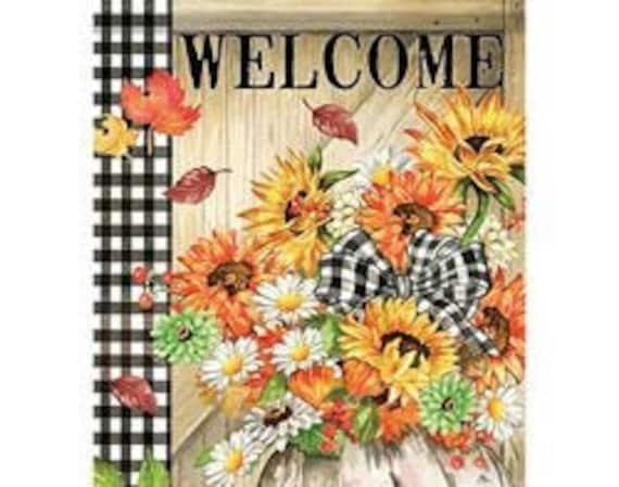 Pumpkin Floral Gingham Fall Garden Flag, Sunflower Fall Flag, Autumn Flag, Pumpkin Garden Flag,  Sassy Doors