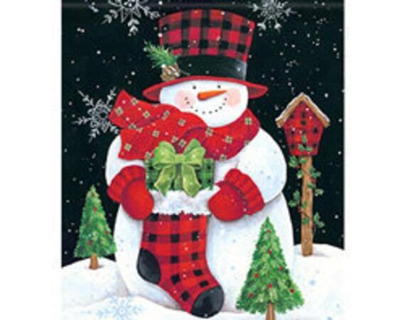 Snowman Flag, Christmas  Flag, Garden Flag, Buffalo Plaid  Flag,  Garden Flag
