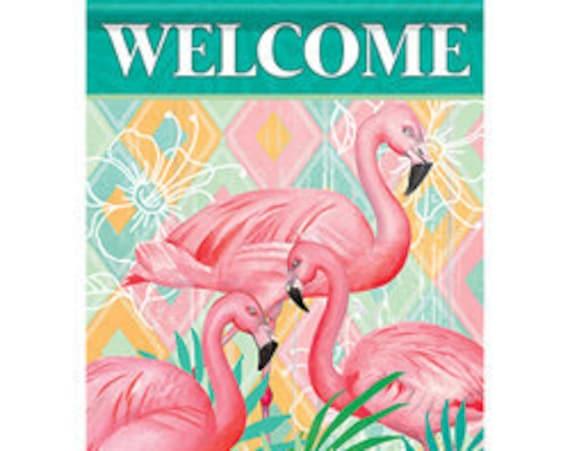 Flamingo  Garden Flag- Summer Flag- Flaming Garden Flag- Whimsical Garden Flag