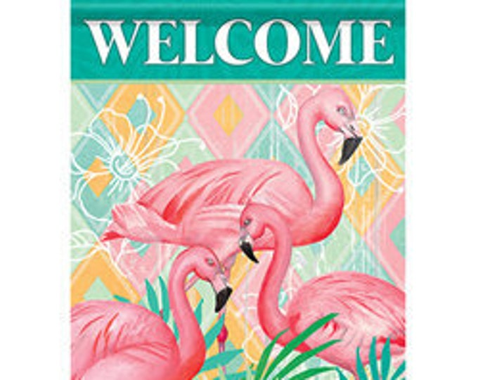 Flamingo  Garden Flag- Summer Flag- Flaming Garden Flag- Whimsical Garden Flag