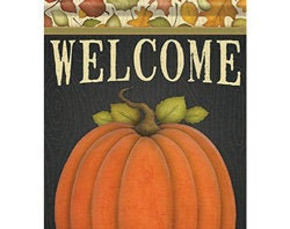 Fall Garden Flag, Pumpkin  Flag, Primitive  Garden Flag, Flag With Pumpkins