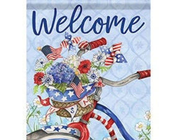 Patriotic Flag, Summer Flag, Garden Flag, July 4th Flag,Garden Flag,Bicycle  Flag, Summer Garden Flag