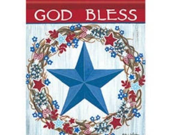 Blue Star Patriotic House Flag,  Patriotic Flag, Summer Flag, House Flag, July 4th Flag,