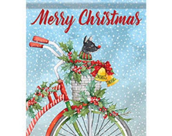 Christmas Flag, Bicycle With Puppy Christmas Flag,  Christmas Flag With Puppy, Holiday Flag,  Carson Flag,