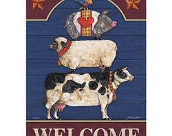 Stacked Farm Animals Flag, Farmhouse  Flag,  Farm Animal Flag, Welcome Flag, Garden Flag,