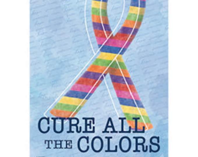 Cancer Support Flag, Rainbow  Ribbon Flag,  Cure All Cancer Awareness Flag, Garden Flag,