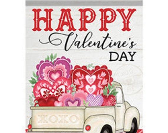 Valentines Truck Garden Flag, Glitter Truck Valentines Day Flag, Pink Glitter Truck Flag