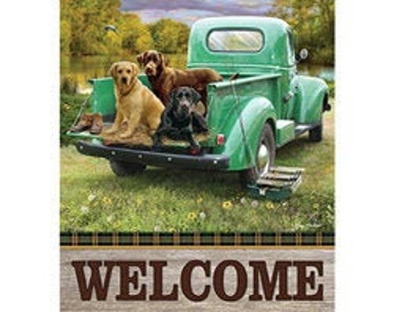 Dog Flag, Vintage Truck Garden Flag,  Pet Garden Flag, Farmhouse truck Garden Flag
