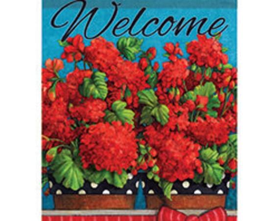 Front Porch Geraniums, Summer Garden Flag, Geraniums Flag, Summer Garden Flag