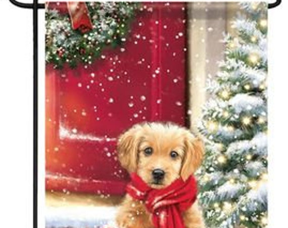 Christmas Flag, Puppy Christmas Flag,  Christmas Flag With Puppy, Holiday Flag,  Carson Flag,