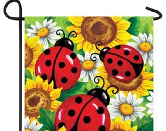Lady Bug Garden Flag- Daisy Flag-Daises and Lady Bug Flag- Whimsical Garden Flag- Free Shipping