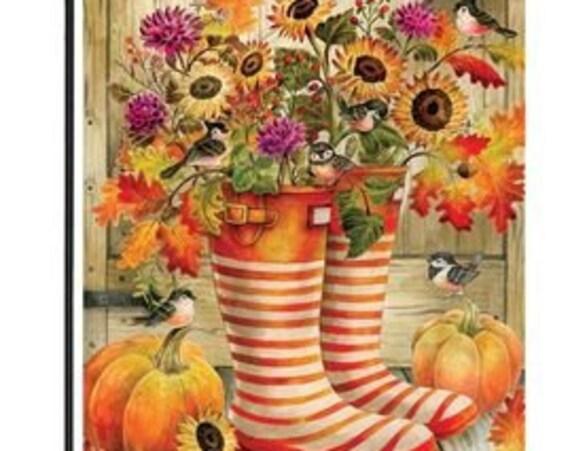Fall  Garden Flag- Fall Flag- Rain Boot Garden Flag- Rain Boot Fall  Garden Flag-  Custom Decor Flag, Free Shipping