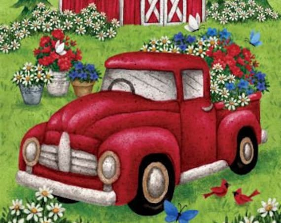 Red Truck Flag, Summer Flag, Garden Flag, July 4th Flag,Garden Flag, Flag With Red Truck, Farmhouse Decor, Summer Garden Flag