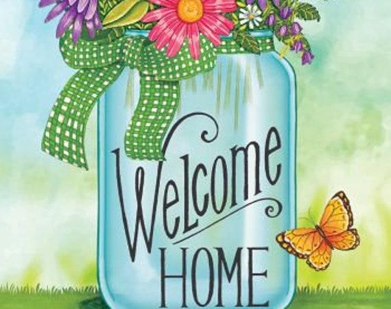 Summer Flag, Mason Jar Flag, Garden Flag, Flag With Daisies , Spring Mason Jar Flag, Welcome Home Flag, Garden Flag.