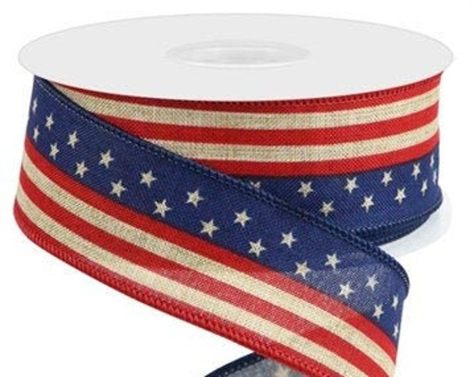 """Tea Stained Patriotic Ribbon, 1 1/2""""  Wired,  Tea Stained Star and Stripes Ribbon, Red White and Blue Ribbon,"""