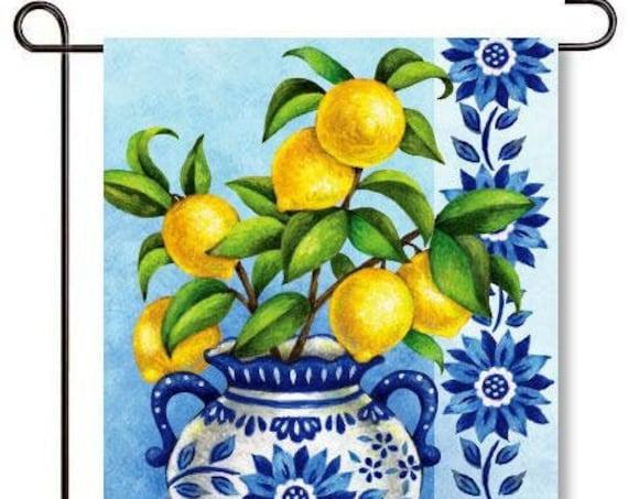 Lemon Garden Flag,Spring And Summer Flag, Trendy Blue and Lemon Flag