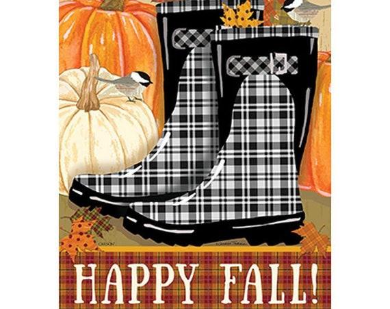 Fall Boots House Flag, Pumpkin Flag, Welcome Fall Flag, Rain Boot Fall  Flag,