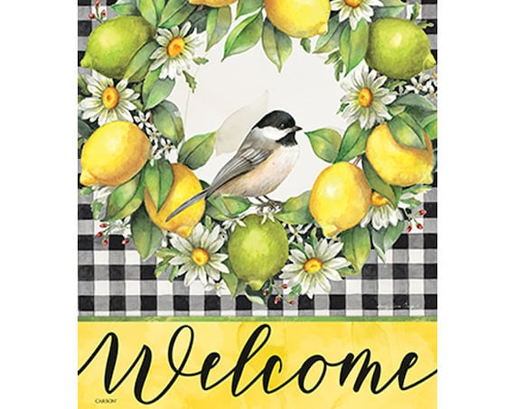 Buffalo Plaid Garden Flag- Lemon Flag-   Flag With Lemons- Whimsical Garden Flag- Flag With Bird