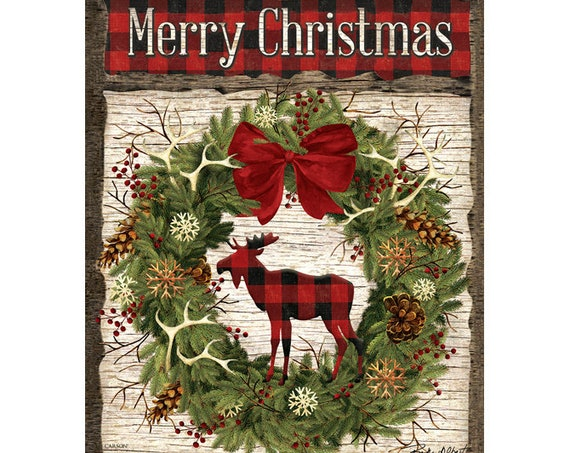 Woodland House Flag,Christmas Flag, Buffalo Plaid Christmas Flag, Moose Christmas Flag, Buffalo Plaid Flag,  Carson Flag,