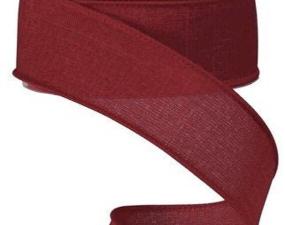 Burgundy Wired Ribbon, 1.5 Inch Wired Ribbon, Cut Ribbon,