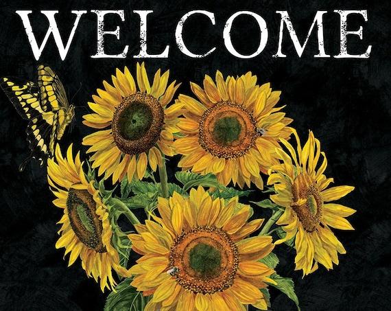 Sunflower Flag, Garden Flag, Welcome Flag, Garden Flag, Flag With Sunflowers, Custom Decor Flag, Sassy Doors