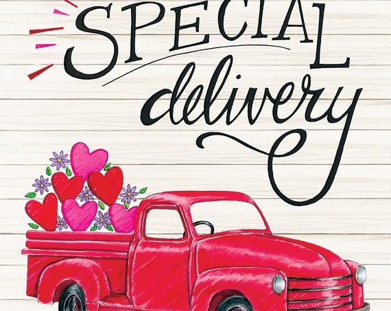 Red Truck Valentines Garden Flag, Sweetheart Valentines Day Flag, Heart Flag