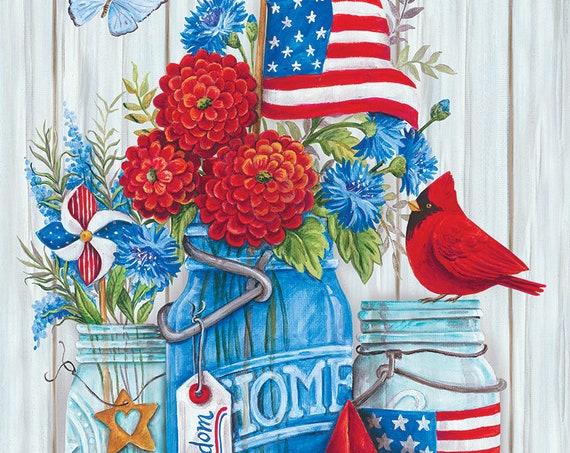 Summer Flag, Patriotic Flag,Mason Jar Flag, Garden Flag, Summer Mason Jar Flag, Custom Decor Garden Flag.
