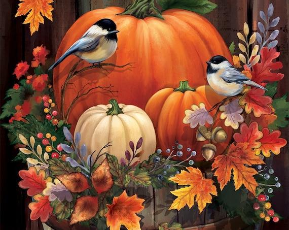 Fall Flag, Autumn Flag, Pumpkin Garden Flag, Fall Flag With Birds,Custom Decor Flag, Sassy Doors