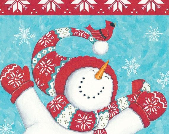 Snowman Flag, Winter Flag, Garden Flag, Whimsical Flag, Winter Garden Flag