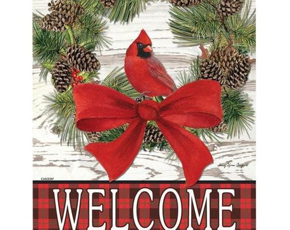 Cardinal  House Flag, House Flag, Winter  Flag, Christmas Wreath Flag, Christmas Flag,