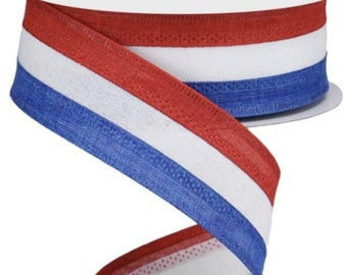 """Patriotic Ribbon, 1 1/2""""  Wired Ribbon, Red White and Blue Ribbon,"""