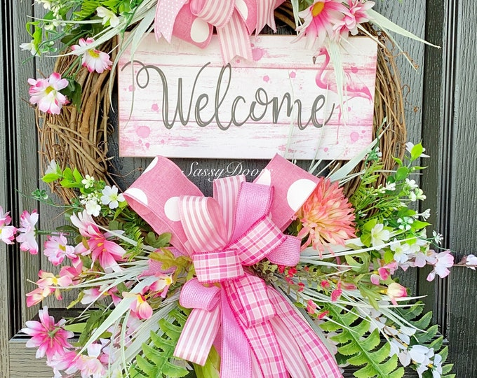 Flamingo Wreaths, Summer Beach Wreath, Summer Wreath, Flamingo Wreath, Wreath With Flamingo, Summer Front Door Wreath, SassyDoors Wreaths